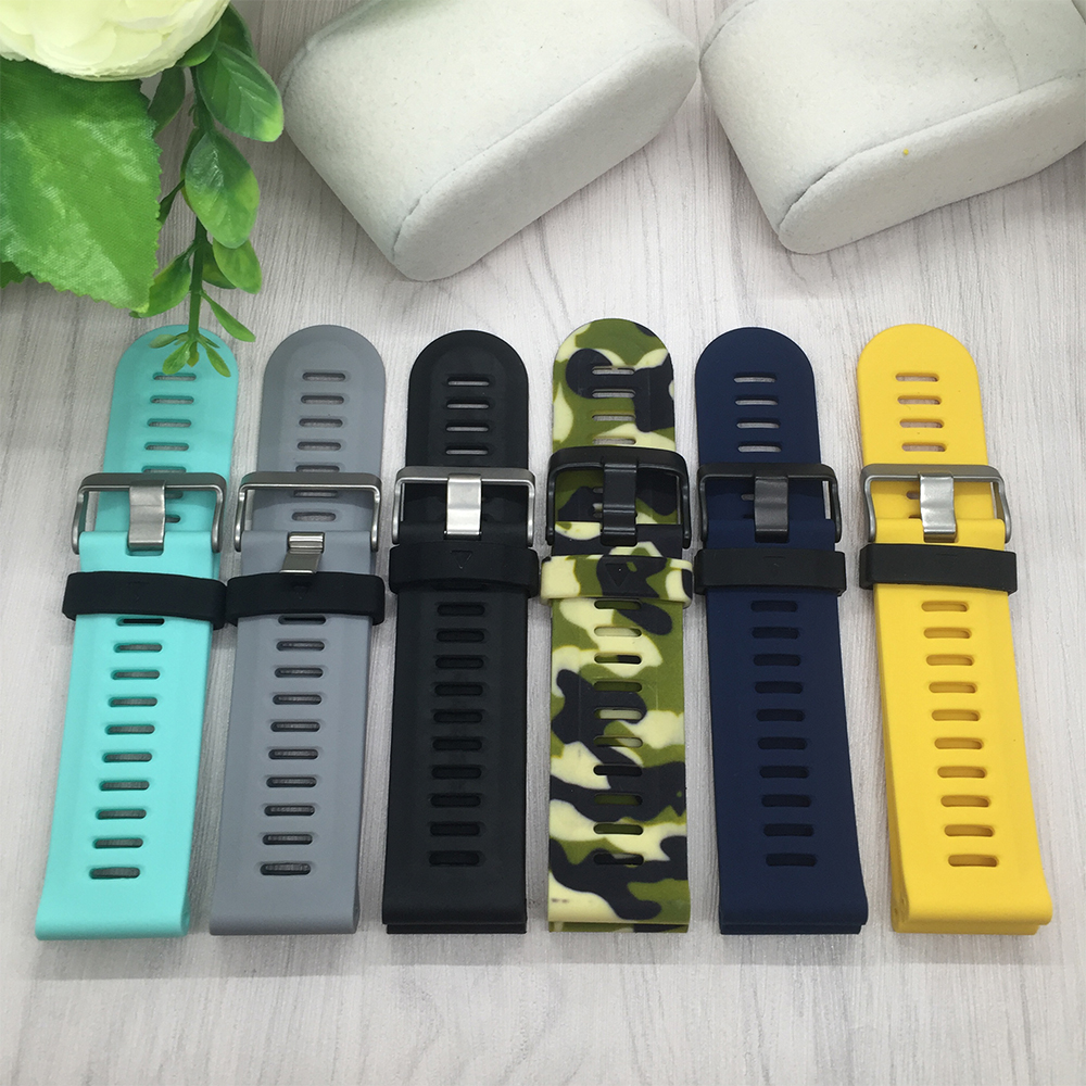 все цены на For Garmin Fenix 3 Watch band 26mm Quality Silicone Rubber Watchband with Tools Garmin Smart watches accessories онлайн