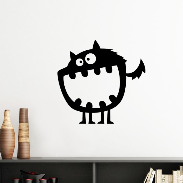 Black alien monster creature cyclops silhouette ghost removable wall sticker art decals mural diy wallpaper room decal in wall stickers from home garden