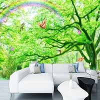 Custom 3d wallpaper Green forest Butterfly world custom mural decoration backdrop nature scenery wallpaper for living room