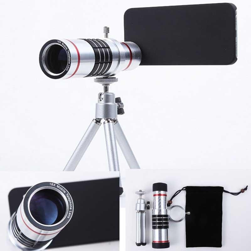 18X Zoom optique télescope téléobjectif caméra téléphone Photo lentille coque arrière Kits pour iPhone 5 5 S SE 6 6 S Plus 7 7 Plus 8 8 Plus X