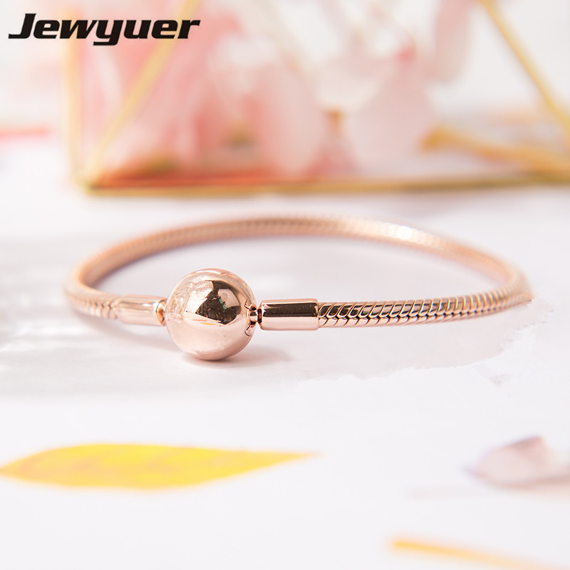 Rose gold Moments smooth Clasp Bracelets fit 925 sterling silver charms beads DIY for women bangle fine Memnon Jewelry YL067 memnon