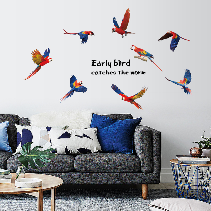 EARLY bird bathroom Wall Stickers for Kids Room poster vinyl Home Decor adesivo de parede Art Decals 3D DIY Wallpaper decoration