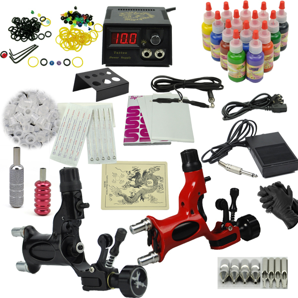 все цены на Rotary Tattoo machine set the dragonfly motor tattoo gun kits Professional tatoo set 14 color ink power supply  Drop shipping
