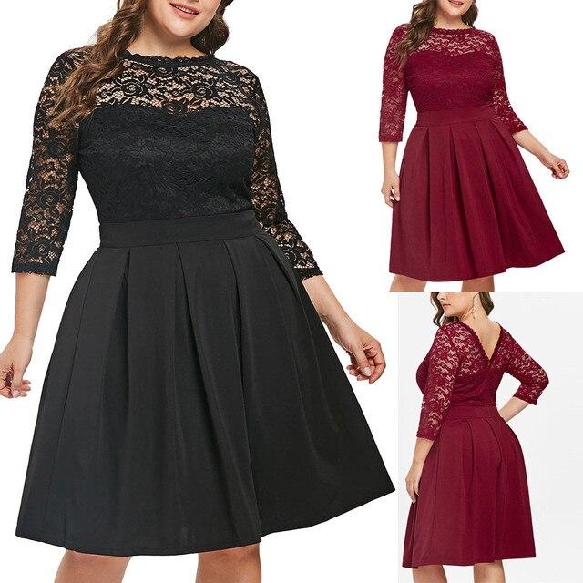Casual Dress Woman 5XL Big Size Dress 2019 Autumn Dresses Women Plus Size Solid Color Lace Party Evening Prom Vestido 5