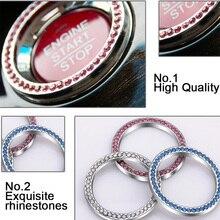 1PCS Car Styling one button start decoration luxury Silver Diamond Ring decorative circle auto accessories