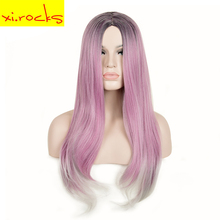 3078 Long Hair Wigs Straight Ombre Purple Heat Resistant Synthetic Wigs Natural Hairstyles Wigs For Woman Xi.Rocks