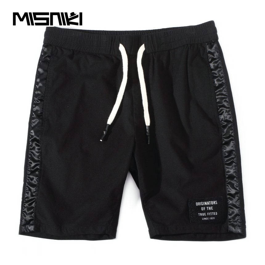MISNIKI 2018 Summer Fashion Casual Mens Shorts Cotton Solid Black Beach Mens Shorts ...