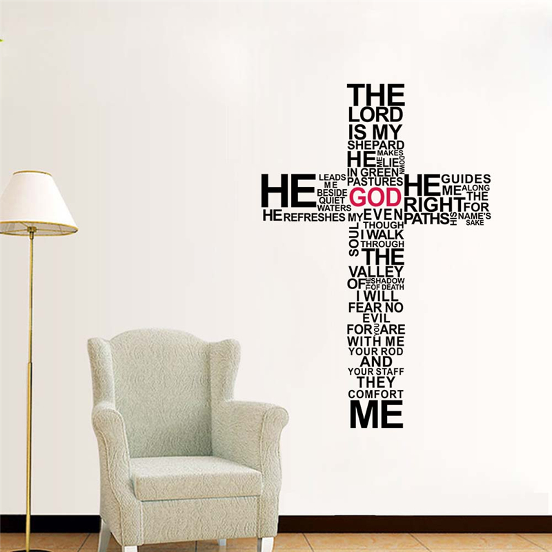 Christian Cross God Quotes Wall Stickers For Living Room Bedroom Home Decoration Jesus Christ Psalm