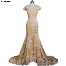 Champagne Sexy Mermaid Wedding Dress Long Elegant Wedding Dresses Lace Cap Sleeve Beaded Bridal Gowns Appliques robe de mariee