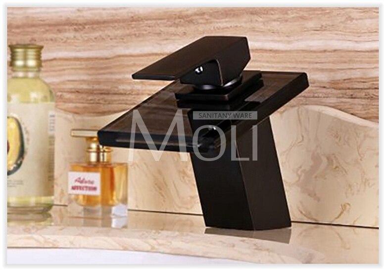 Robinets de bassin robinet en Bronze salle de bains moderne évier cascade robinets mitigeur noir poignée unique bec en verre ML8102B - 3