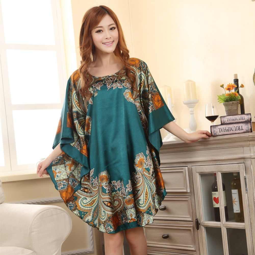 ホット販売ファッションの女性の夏ローブ中国の女性のフェイクシルクナイトガウンフリーサイズフラワー Nuisette のスパースター Mujer ワンサイズ xsz622J
