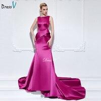 Dressv 2016 Long Zipper Up Lace Evening Dress Celebrity Dress Purple Button Scoop Neck Floor Length