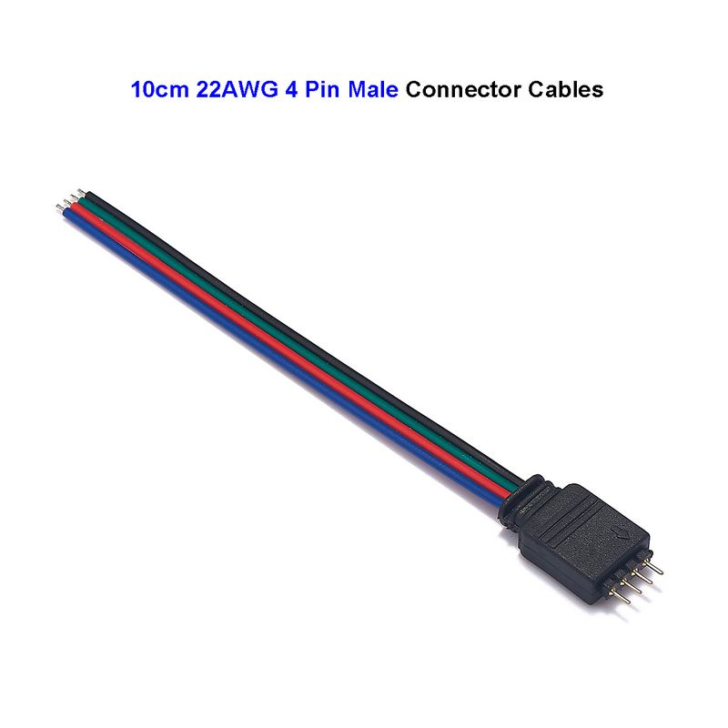 RGB Connector Cable 4 Pin Male LED Connector Cable 10cm 15cm Electrical Wire For 5050 3528 RGB LED Strip Lights