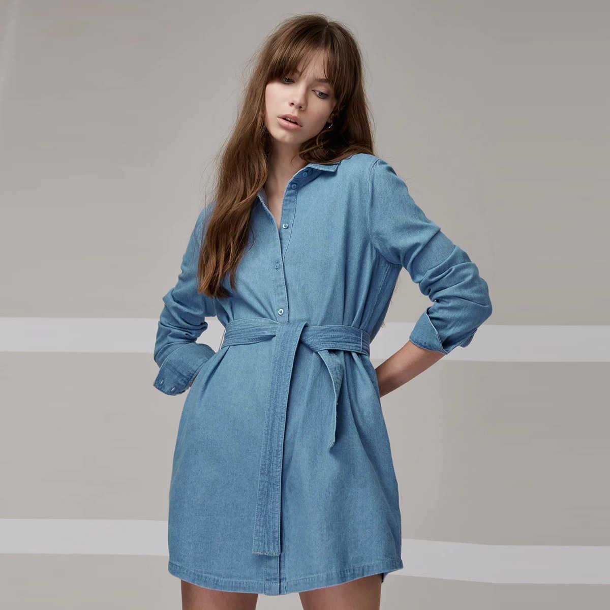 HDY Haoduoyi женское Новое модное платье с длинными рукавами однотонное синее простое платье с бабочкой и пуговицами Элегантное повседневное стильное джинсовое платье