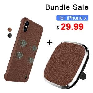 Nillkin беспроводное автомобильное зарядное устройство pad и магнитное Беспроводное зарядное устройство чехол для iphone X 5,8 ''комплект распродажи...