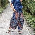 2017 Nova Primavera Vento Nacional Harem Pants Algodão De Seda Grande Virilha Índia Nepal Grandes Calças Virilha Calças Perna Larga