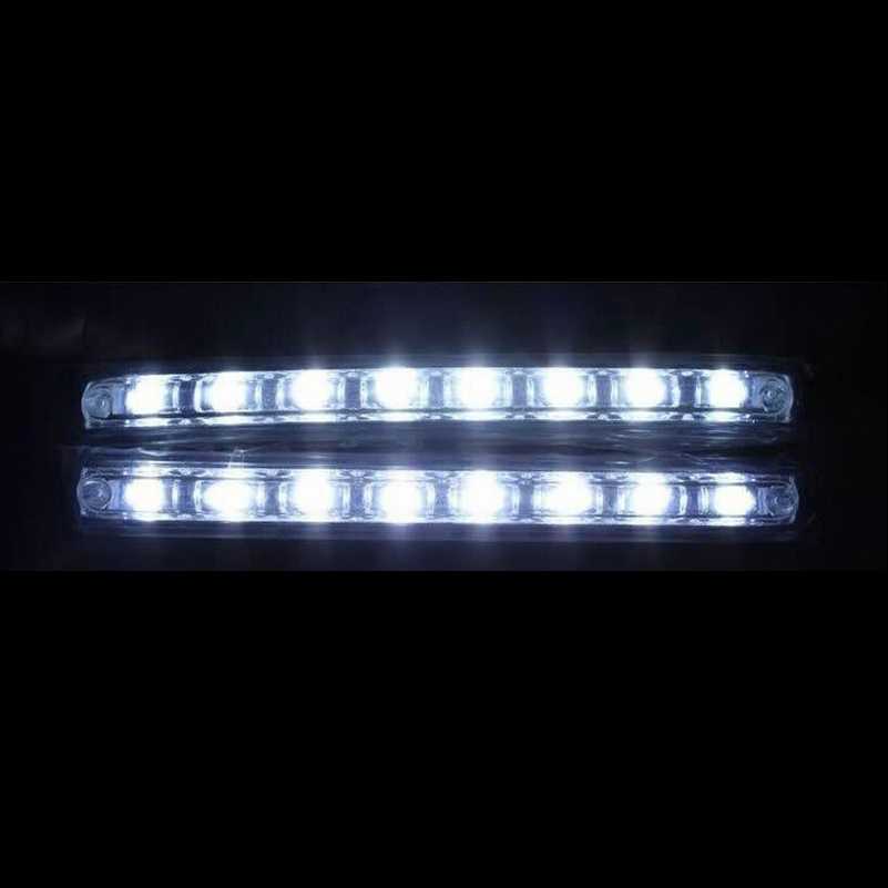 Safego 2PCS Universal Car DRL Daytime Running Lights Waterproof 8 LED DRL Day Time light Kit Super White 12V DC Head Lamp icoco 3 led waterproof car light universal daytime running lights dc12v super white auto car fog lamps car styling
