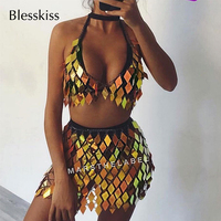 Blesskiss Funny Sexy Beach Wear Bikini Women Gold Sequin Vacation Glitter Festival Party Dress Skirt Swimsuit Swimwear Beachwear