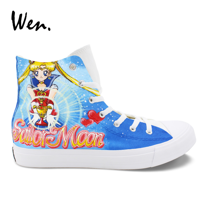 Wen Design Custom Girl Boy's Birthday Gift Hand Painted Shoes Sailor Moon Anime High Top Blue Canvas Shoes Woman Laced Sneakers wen design custom blue hand painted shoes scott pilgrim high top woman man s canvas sneakers for birthday gifts