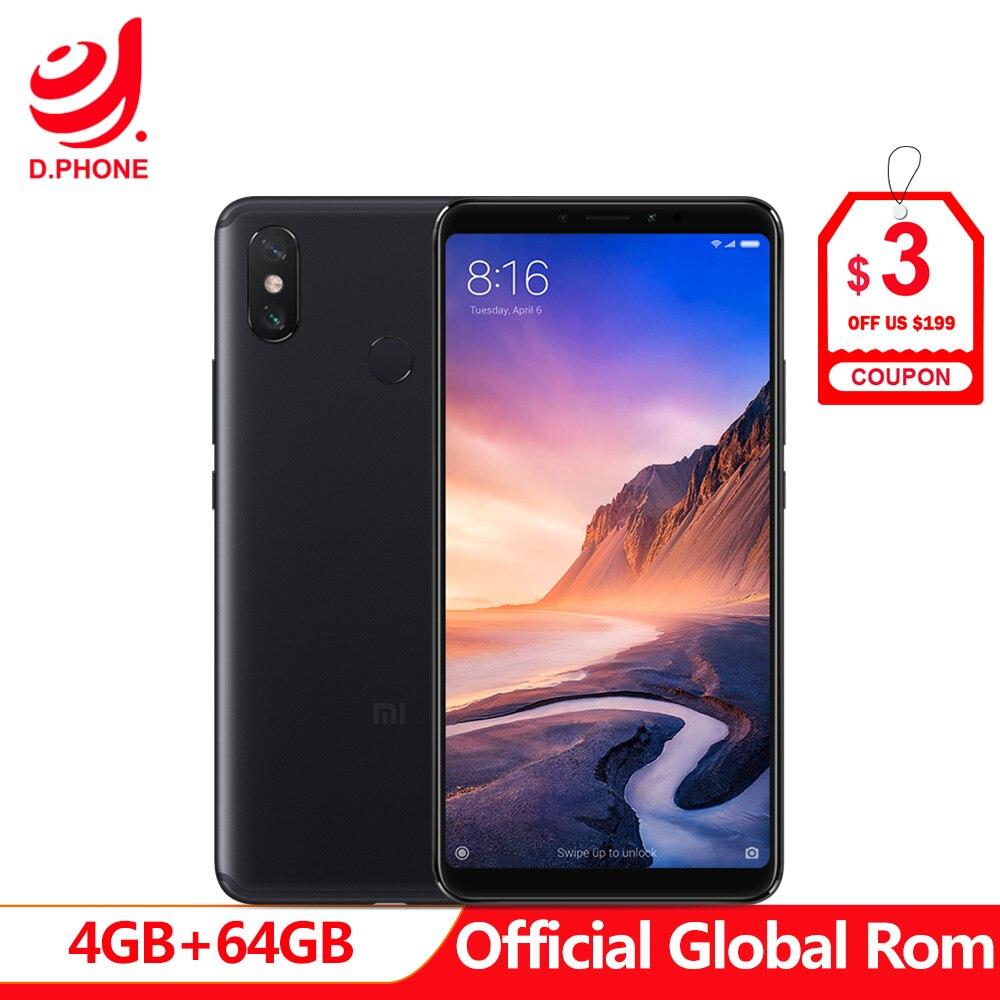 5500 mAh 6.9 polegada Globais Rom Xiao mi mi Max 3 64 4 GB de RAM GB ROM Snapdragon 636 Octa câmera núcleo 12MP + 5MP Max3 telefone Móvel