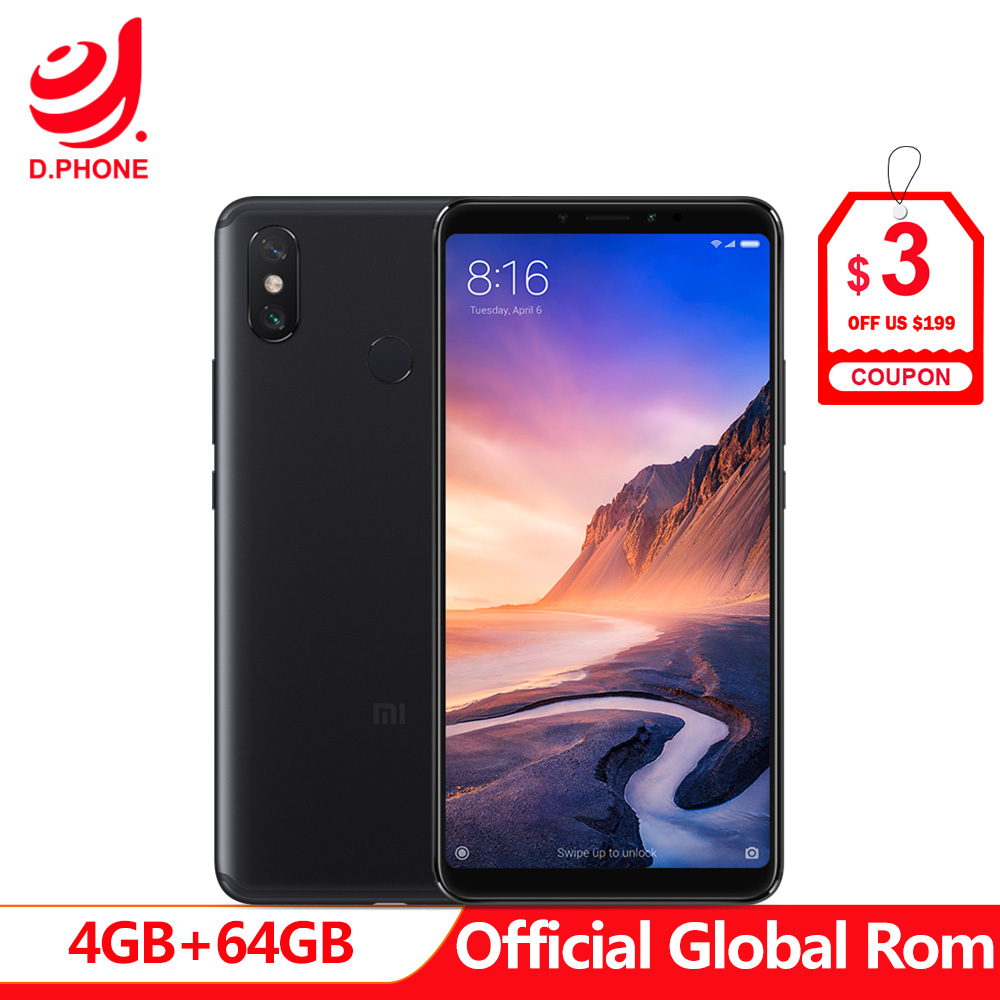 5500mAh 6.9 inch Global Rom Xiaomi Mi Max 3 4GB RAM 64GB ROM Snapdragon 636 Octa Core 12MP+5MP Camera Max3 Mobile phone