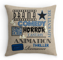 Movie Theater Cinema Movie Genre ticket Pillow Blue Double size Printing Square Pillowcase for 12'' 14'' 16'' 18'' 20'' 24''