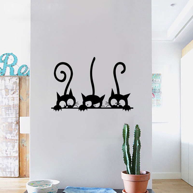 Three Funny Cats Wall Sticker Home Decor Kids Room Living Room Background Decoration Mural Art Decals Cute Animal Stickers