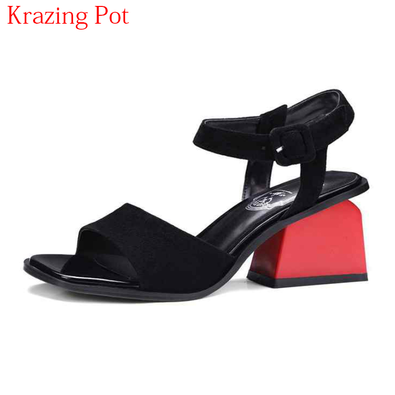 Office Mujeres Toe Retro Slingback Zapatos Sandalias Negro apricot Kid Correas Dulces Lady Mano 2018 Superstar Hecho Hebilla Peep L55 Elegantes A Verano Suede qWT04x5vz