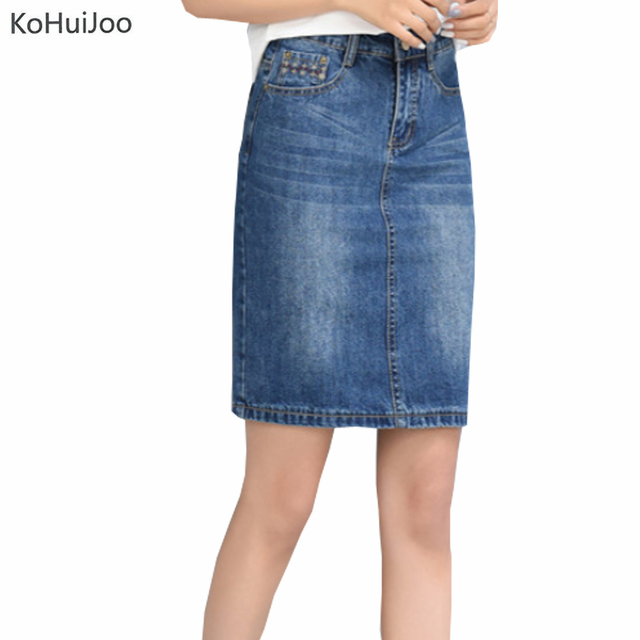 ceb81587c3 KoHuiJoo S-9XL Spring Summer Ladies Denim Skirts for Women Knee Length  Pockets Embroidery Cowboy Jeans Skirts Casual Plus Size