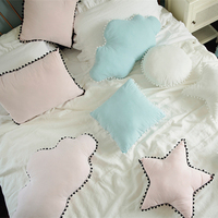 Lovely Blue Cloud Star Rectangular Pillow Kawaii Soft Stuffed Plush Pillows Cute Sofa Cushion Baby Room Decoration For Children