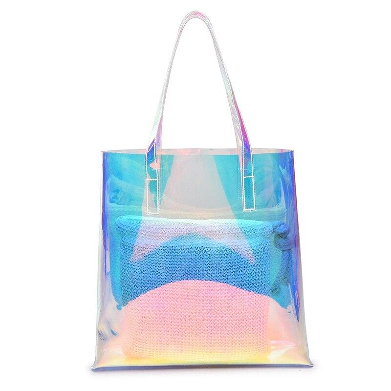 Hologram Laser Handbag Transparent Candy Shoulder Bag Waterproof Beach Bag for Women Travel Shopping Bags Fashion