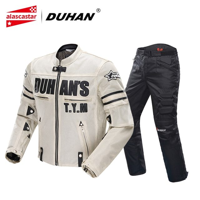 DUHAN Summer Motorcycle Jacket Men's Breathable Chaqueta Moto Jacket Mesh Riding Jacket Motorcycle With Removable Protector