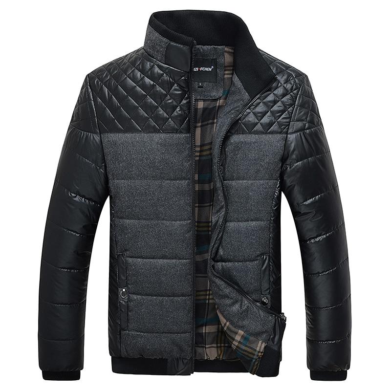 Classic Men Fashion Warm Jackets Plus Size L-4XL Patchwork Plaid Design Young Man Casaul Winter Coats