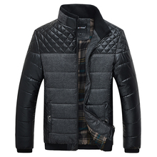 Classic Men Fashion Warm Jackets Plus Size L-4XL Patchwork Plaid Design Young Man Casaul Winter Coats