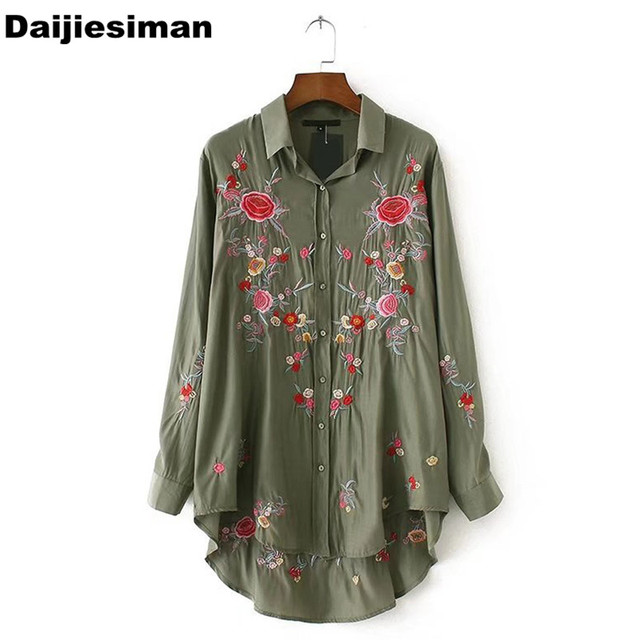 b251dcff316581 Vintage Rose Floral Print Embroidery Blouse Long Sleeve Turn-down Collar  Shirt Sexy Women Officewear Tops Army Green