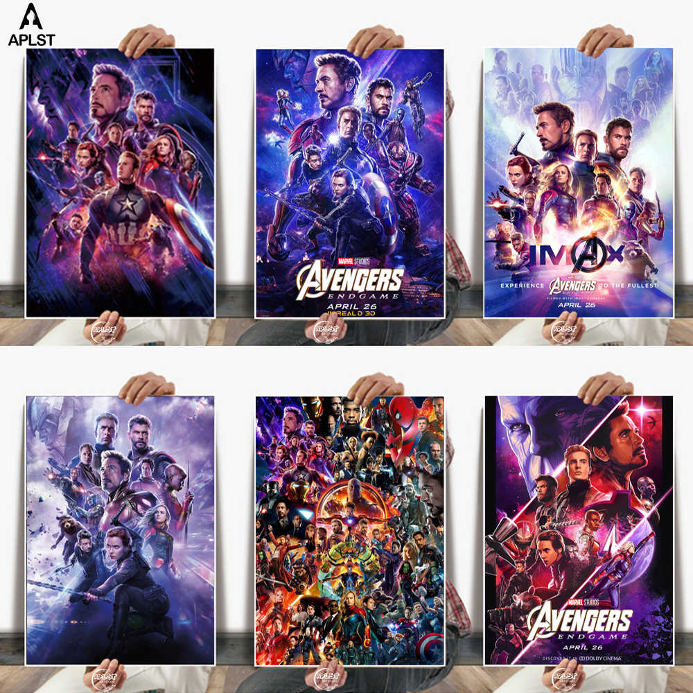 The Avengers Endgame Movie Iron Man Captain America Paper Poster Home Decor Painting Wall Art for Bar Cafe Living Room Bedroom