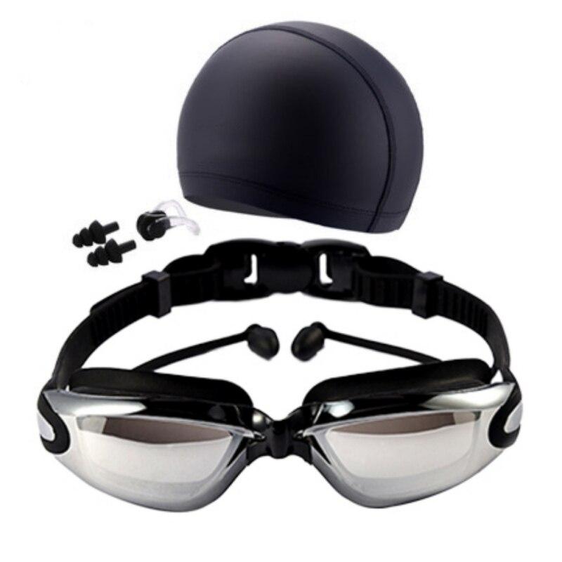 Unisex Swimming Goggles Waterproof anti-fog UV Protection Surfing Professional Swim Glasses Swim Caps Earplugs Nose Clip Set(China)