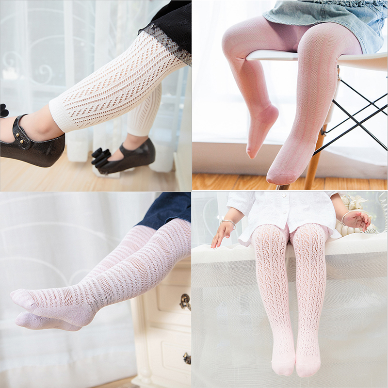 MooMooz baby girls heart patterned cotton tights pink white toddler stockings