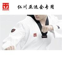 Groothandel katoen ademend junior uniform DOBOK kind volwassen mannen vrouwen WTF mooto tae kwon karate taekwondo kleding printing