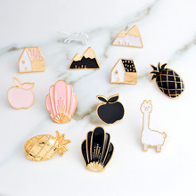 Alpaca Bunga Mountain Pine Apple Rumah Tupai Apple Pin Lencana Keras Pin Enamel Bros Pin Grosir Lucu Bros(China)