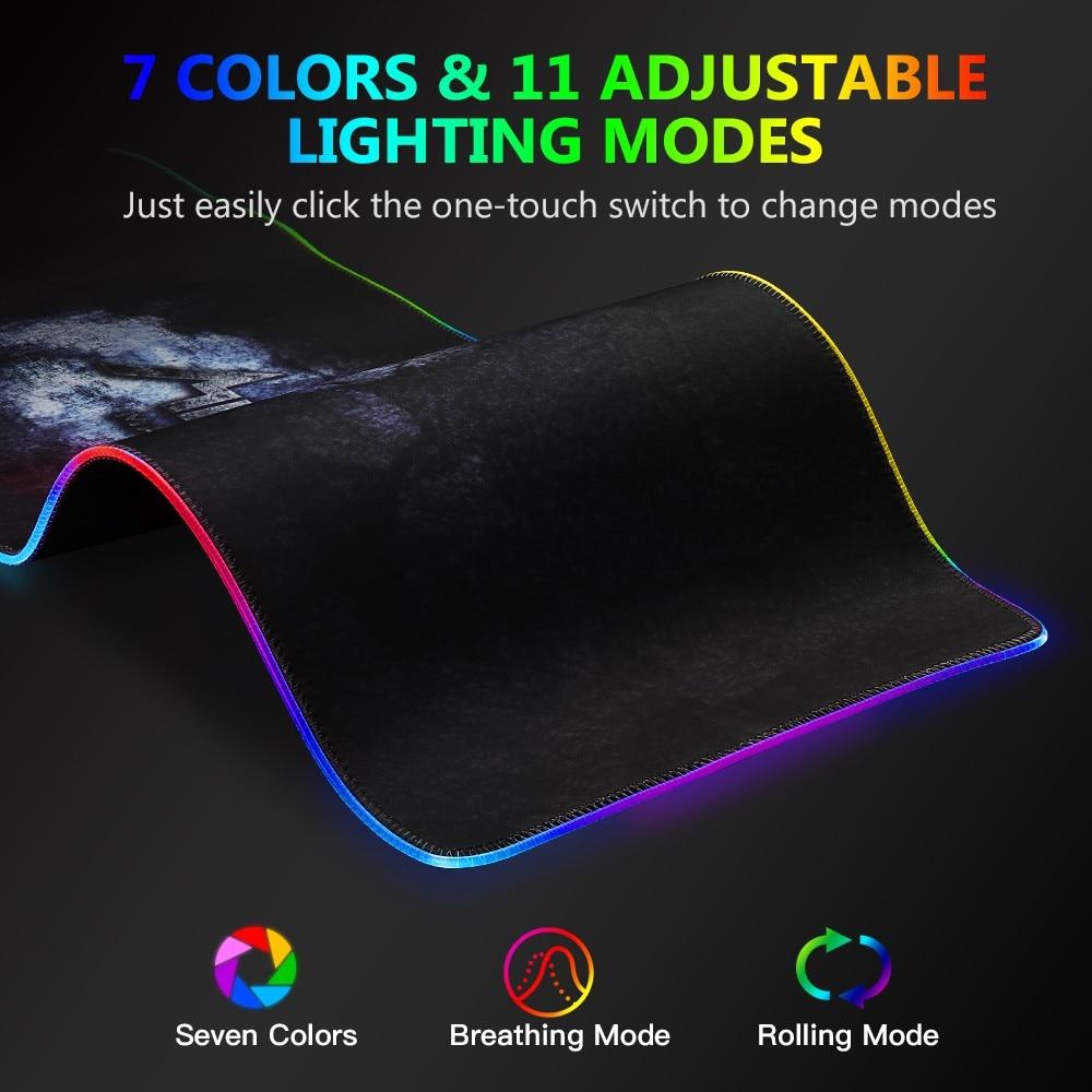 Tapis de souris MAD GIGA RGB, grand tapis de souris chargeur sans fil 80 cm * 26 cm, tapis de souris de jeu 7 couleurs - 3