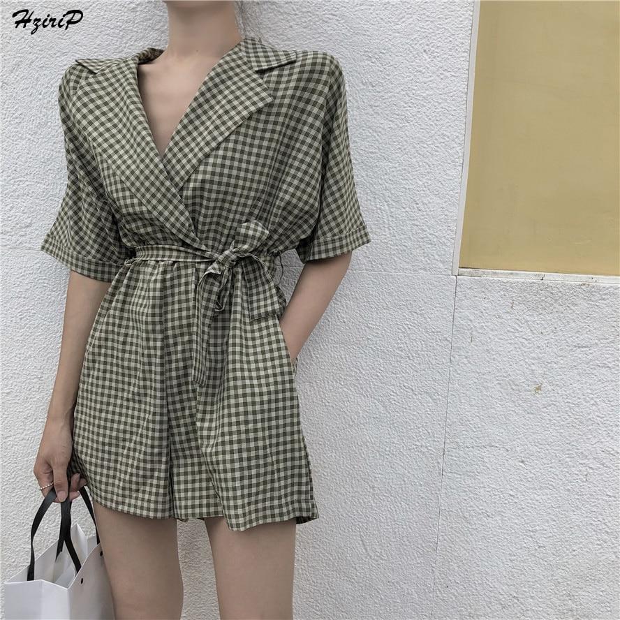 HziriP Women Summer Jumpsuits 2018 New Office Wear Suit Collar Rompers Playsuits Vintage Plaid Wide Leg Shorts Jumpsuit Overalls