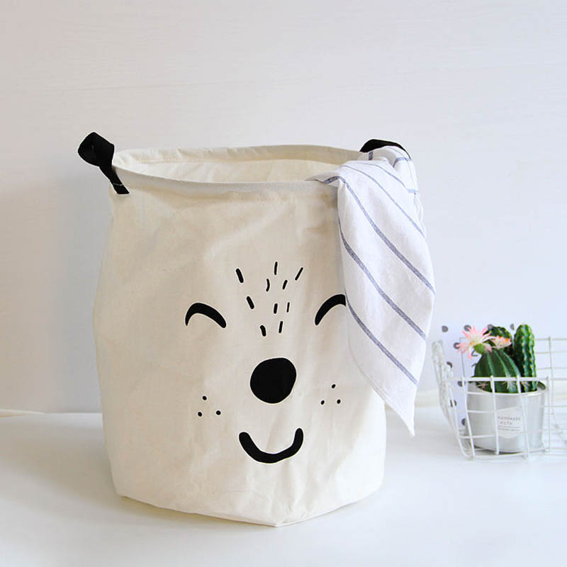 lovely Cartoon Aamial cotton Linen Laundry Storage Basket Kid Toy Organizer Bag Dirty Clothes Container Pocket Baby Nappy Bucket