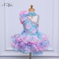 ADLN Princess Lace Flower Girl Dresses Kids Birthday Party Dresses Cupcake Dress A Line Blue Child