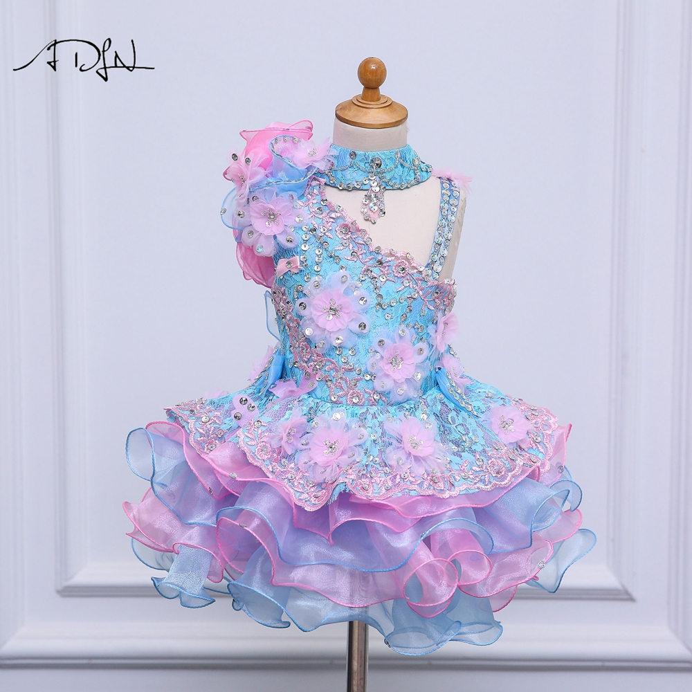 ADLN Princess Lace   Flower     Girl     Dresses   Kids Birthday Party   Dresses   Cupcake   Dress   A-line Blue Child Evening Gowns with Bow
