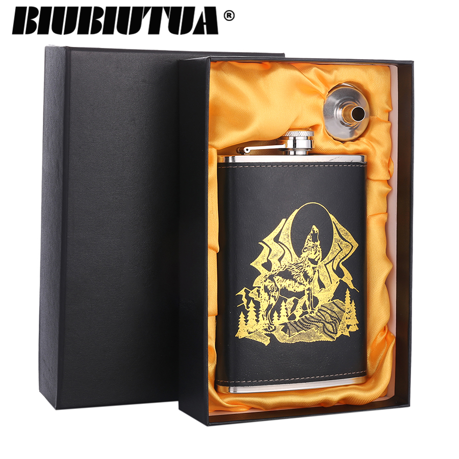 BIUBIUTUA 9oz Wolf And Forest Pattern Mini Alcohol Flask Leather Outdoor Sports Dedicated Stainless Steel Hip Flask Set