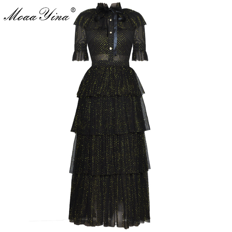 MoaaYina Fashion Designer Runway Dress Summer Women Stand collar Short sleeve Bowknot Mesh Lurex Parties Elegant