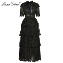 MoaaYina Fashion Designer Runway Dress Summer Women Stand collar Short sleeve Bowknot Mesh Lurex Parties Elegant Cake Dress