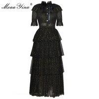 MoaaYina Fashion Designer Runway Dress Summer Women Stand collar Short sleeve Bowknot Mesh Lurex Parties Elegant Cake Dress