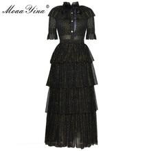 MoaaYina מסלול מעצב אופנה שמלת קיץ נשים צווארון עומד קצר שרוול bowknot רשת Lurex מסיבות אלגנטי עוגת שמלה